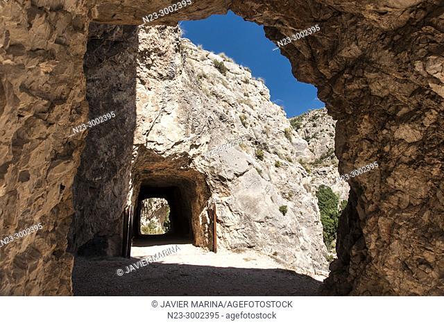 Tunnel in the gorges of the Cabriel River, Valencia, Spain