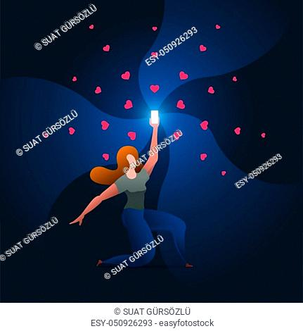 Beautiful girl holds up a shimmering phone. Woman is holding the phone above. Vector concept illustration
