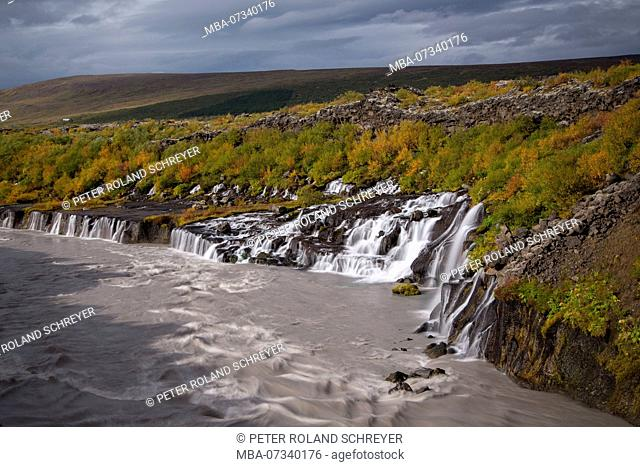 Iceland, Barnafoss, West Iceland, autumn colors, cloudy mood, cloudy meltwater