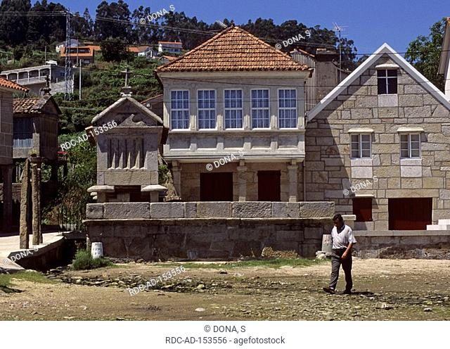 Houses with granaries Combarro Rias Baixas Galicia Spain horreo granary