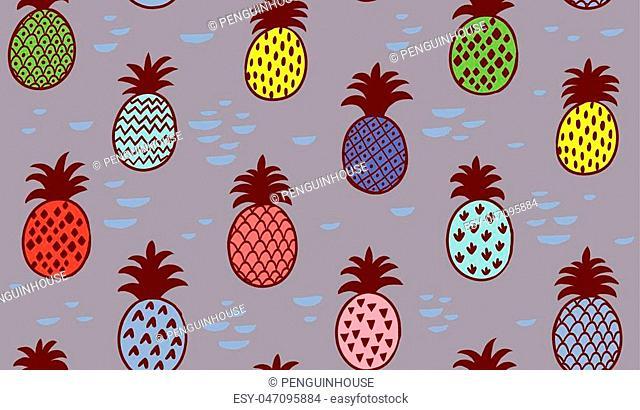 Seamless creative summer pineapple fruit illustration background pattern in vector