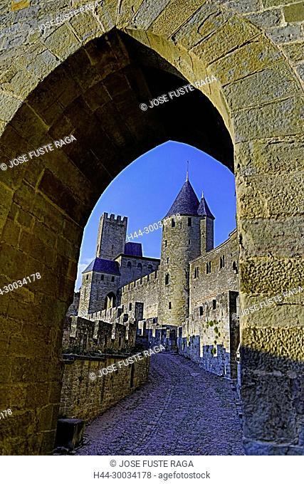 France, Aude region, Carcassonne city, la cite, medieval fortress, W.H.