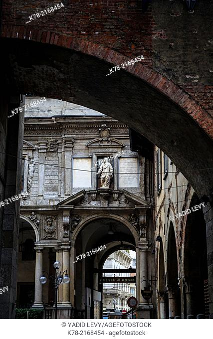 Detail of an old building in Milan, Italy