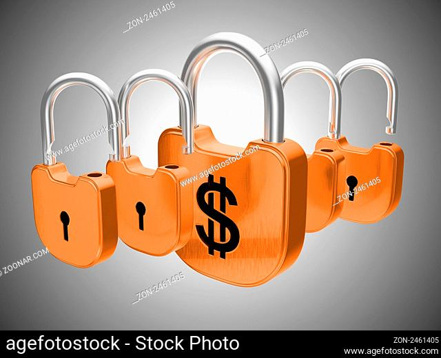 Padlocks: US dollar currency safety concept. Over grey