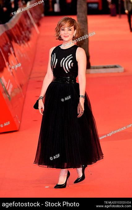 "Sara Lazzaro attends the red carpet of the movie """"Fortuna"""" during the 15th Rome Film Festival on October 19, 2020 in Rome, Italy"