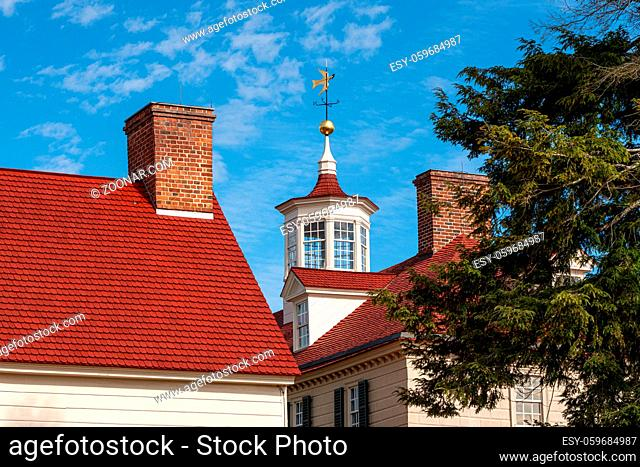 Detail of the weathervane and roof windows at Mount Vernon near Washington DC