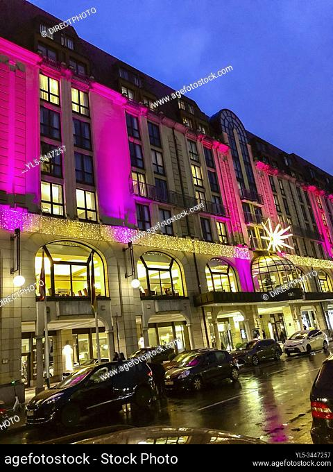 Berlin, Germany, Hilton Hotel, in CIty Center, lit up at Night, on Gendarmenmark Place