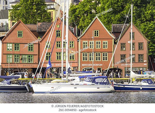 Old Hanseatic buildings of Bryggen in Bergen, Norway, front line