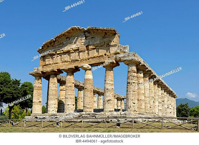 Greek Doric temple of Athena, archaeological site of Paestum, Capaccio Paestum, Campania, Italy