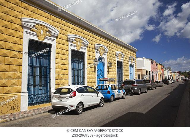 View to the colonial buildings in the city center, Campeche City, Campeche State, Mexico, Central America