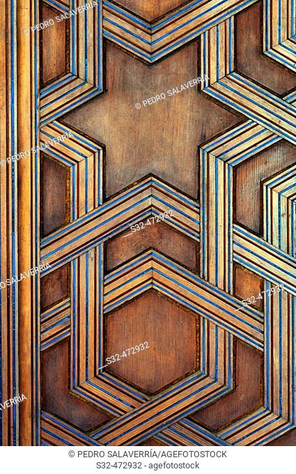 Door detail of the Oratory of the Palacio Taifal. Palacio de la Aljafería. Zaragoza. Aragón, Spain