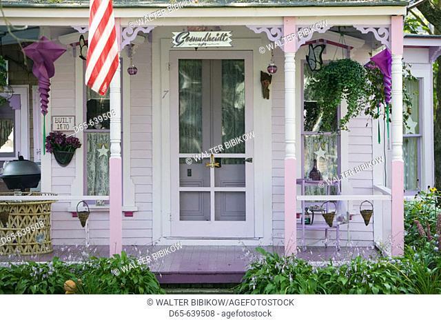 Historic Camp Meeting Grounds. Gingerbread House Details. Oak Bluffs. Martha's Vineyard. Massachusetts. USA
