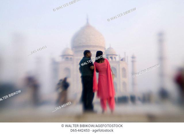 Taj Mahal. Pink Sari. Agra. Uttar Pradesh. India