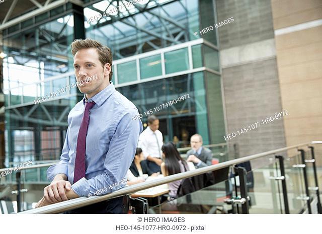 Pensive businessman outside meeting