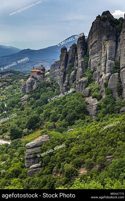 Greece, Thessaly, Scenic view of Monastery of Saint Nicholas Anapausas