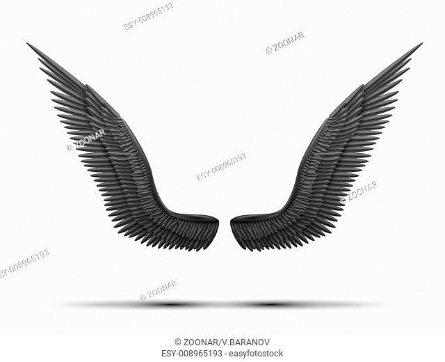 Black open angel wings