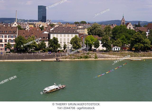 Rhine river with cable ferry, Oberer Rheinweg riverside, Basel, Switzerland