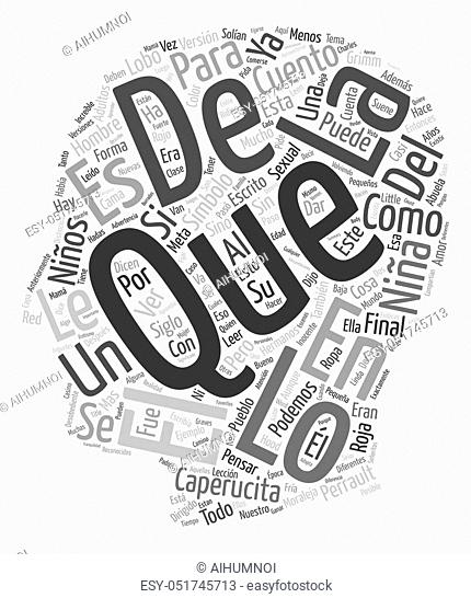 Caperucita Roja Un Simbolo Sexual text background wordcloud concept