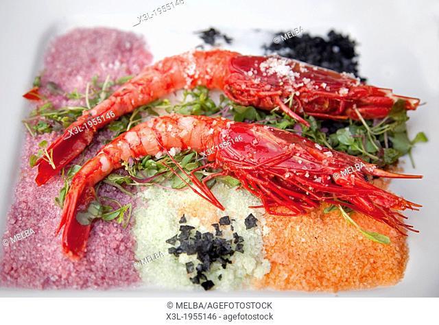 Carabineros con flor de sal, Scarlet shrimp with fleur de sel. Navarre, Spain