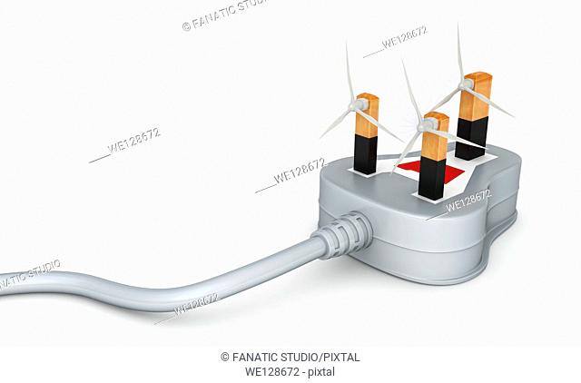 Illustration of three pin plug with wind turbines over white background
