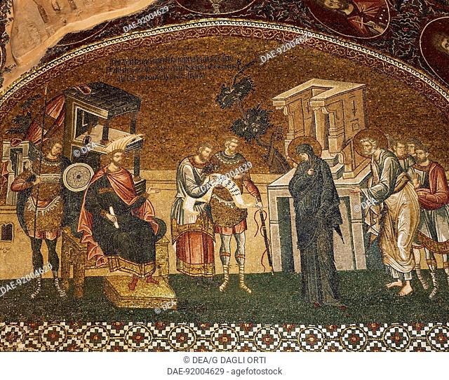 Mosaic depicting Joseph and Mary going to the census, to the right consul Quirino and his dignitaries, esonarteces (nartex) of the Church of the Holy Saviour in...