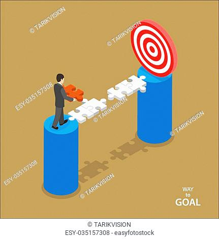 Way to the goal isometric flat vector concept. Man in suit walks to set missing part of bridge between him and goal
