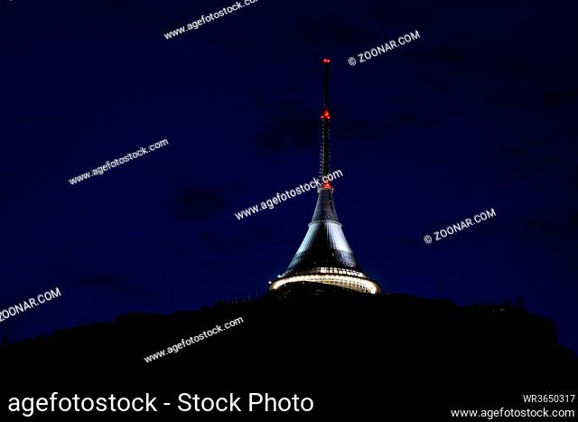 View to Je?t?d in Czech republic in the night. Blick zum Jeschken bei Nacht