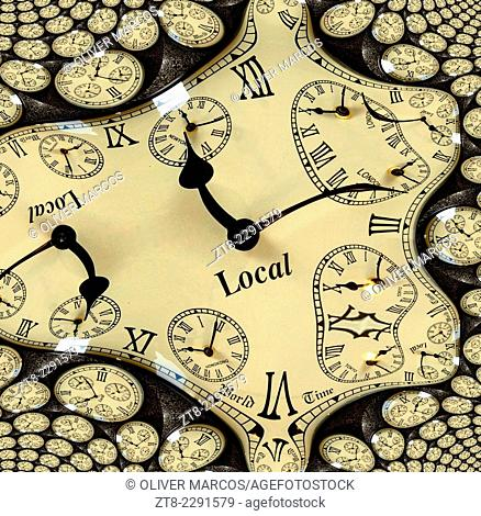 The image is obtained from a photograph of a clock, processed with a fractal generator and divided into two parts, so that the print can be mounted separately...