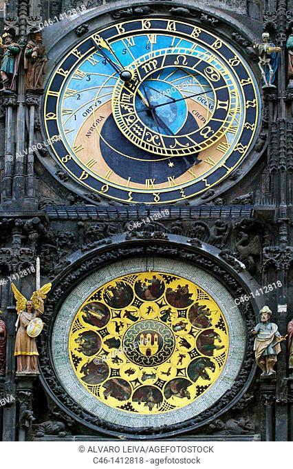 Astronomical clock old town hall staromestske namesti, Prague, Czech Republic