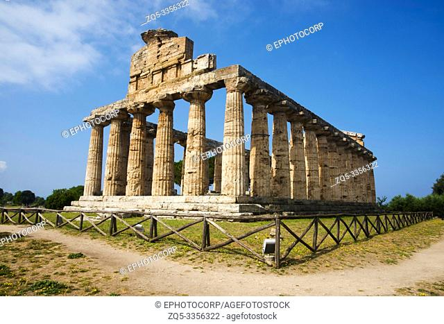 Ceres temple from South - East showing huge pillars with simple flutings, Paestum, Italy