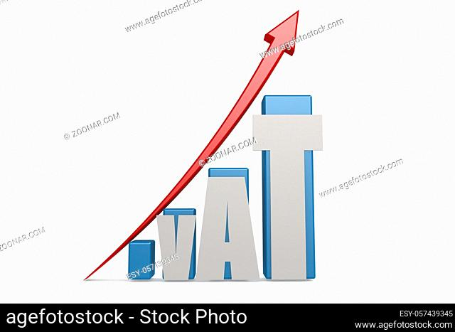 VAT word on the upward graph and red arrow, 3D rendering