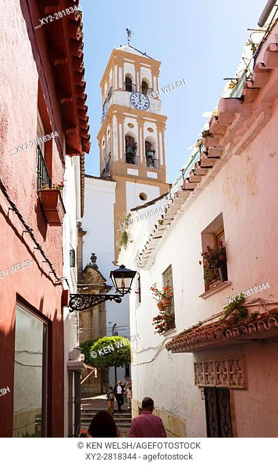 Marbella, Costa del Sol, Malaga Province, Andalulusia, southern Spain. Bell tower of Nuestra Señora de la Encarnacion church in old town