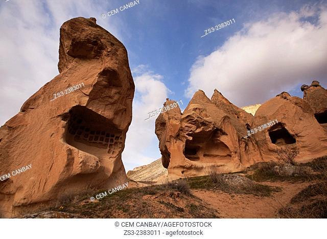 Rock formations in Devrent Valley, Zelve, Cappadocia Region, Nevsehir, Central Anatolia, Turkey, Europe