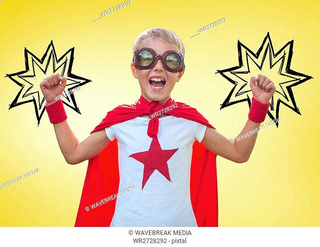 Boy in superhero costume showing fists against yellow background