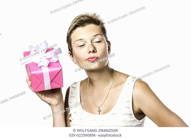 Brunette pretty girl with gift