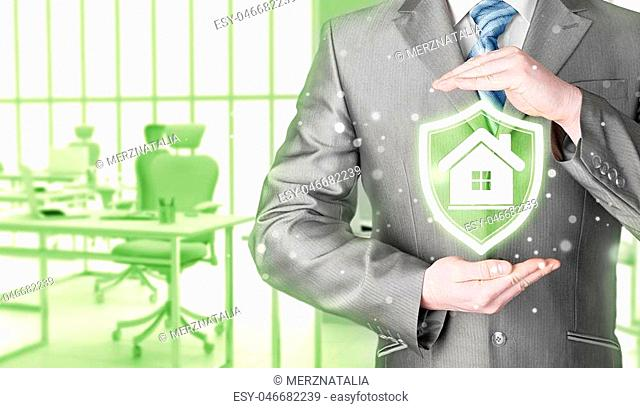 House protection and insurance. Home shield. Real estate safety. Office background