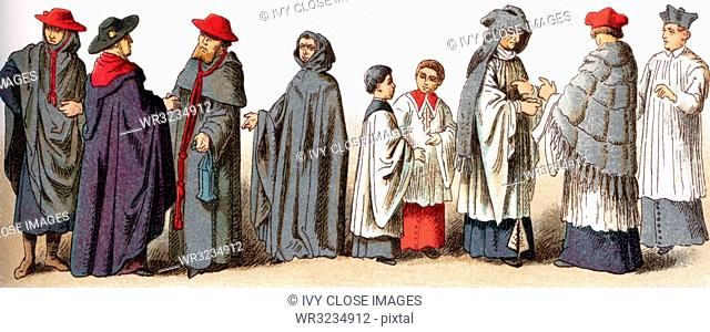 The illustrations shown here depict ecclesiastical costumes. They are, from left to right: three caps worn for ordinary use by bishops and cardinals); a Cap...