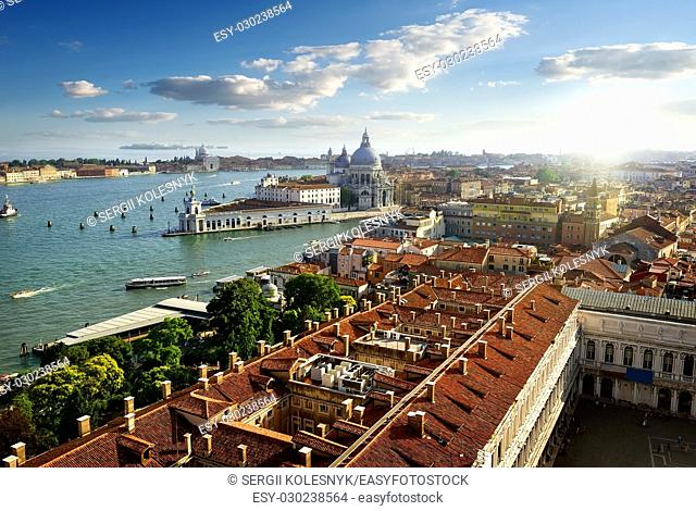 View on Venice from above in early evening, Italy