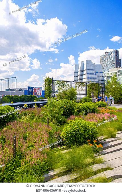 High Line Park in NYC. The High Line is a public park built on an historic freight rail line elevated above the streets on Manhattans West Side