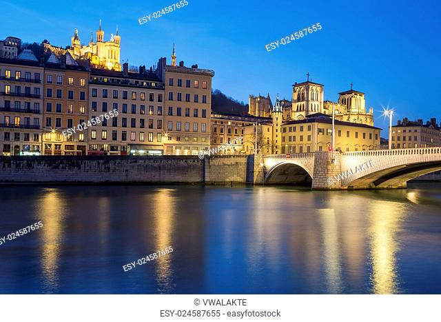 Lyon with Saone river at night, France