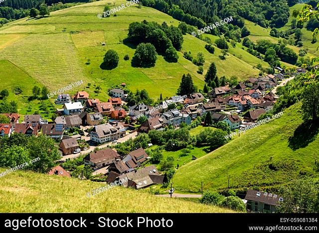 View from above to a part of the small village Muenstertal in the Black Forest