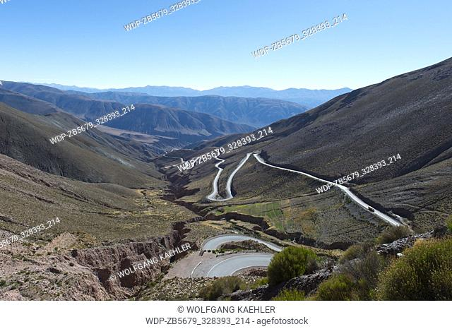View from Lipan Pass of Highway 52 in the Andes Mountains near Purmamarca, Jujuy Province, Argentina