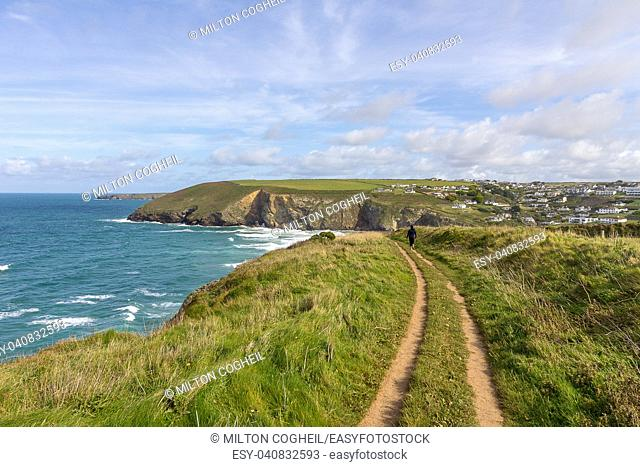 A landscape view of Mawgan Porth from the South West Coast Path, North Cornwall along the Atlantic coast near Newquay