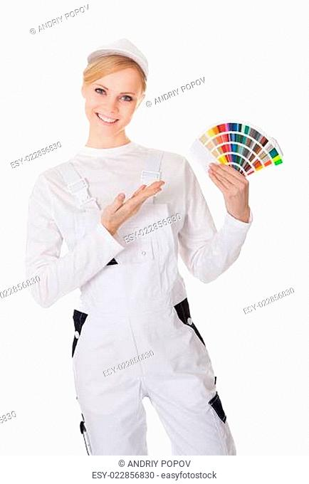 Professional young painter woman
