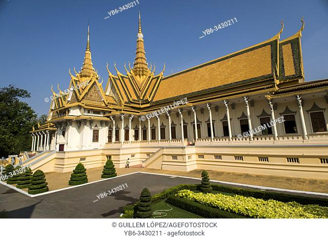 Royal Palace or the Temple of the Emerald Buddha in Phnom Penh, Cambodia