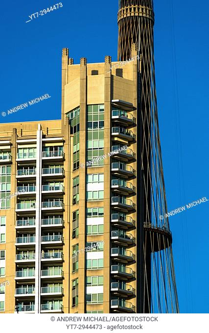 Apartments next to Centrepoint tower in Sydney CBD. New South Wales, Australia