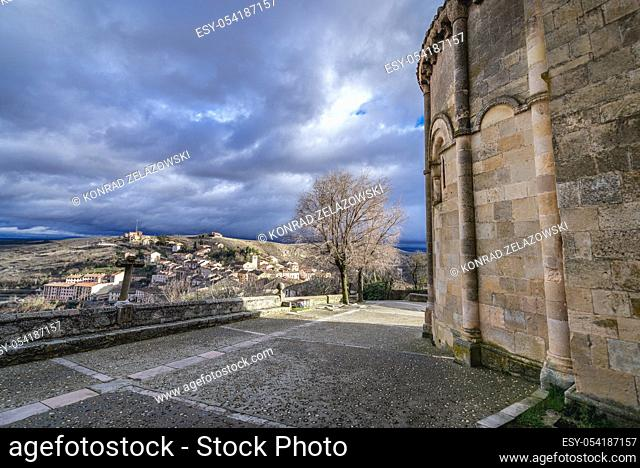 Wall of Church of San Salvador (Holy Savior) Sepulveda town in Province of Segovia, Castile and Leon autonomous community in Spain