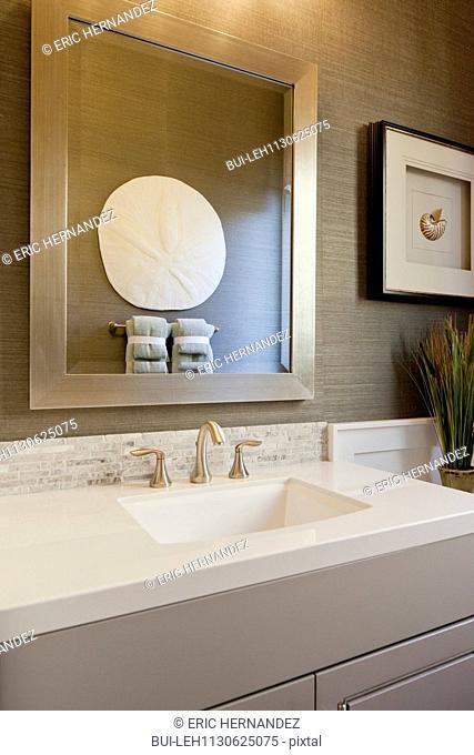 View of sink in domestic bathroom; Rancho Mission Viejo; California; USA