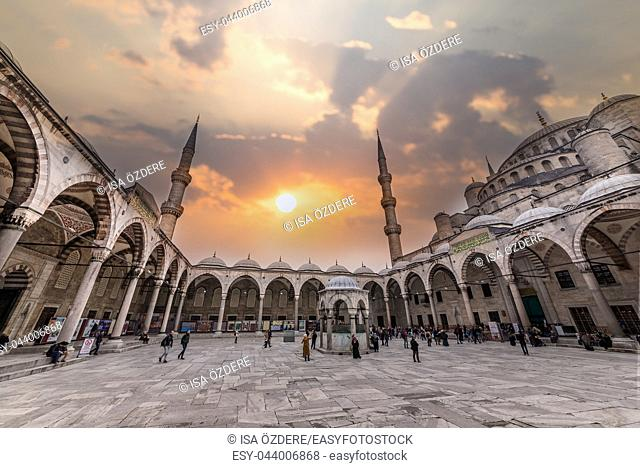 Unidentified people walk at Sultanahmet courtyard,popular destination in ISTANBUL, TURKEY- MARCH 11,2017