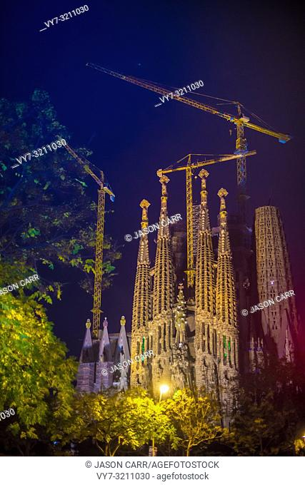 BARCELONA, SPAIN - November 24, 2018: La Sagrada Familia's construction in progress. It is on the part of UNESCO World Heritage site by an artist Antoni Gaudi